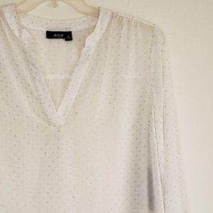 A.n.a Long Sleeved V-Neck Blouse with Gold Studs